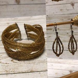 Gold beaded cuff bracelet and earrings set